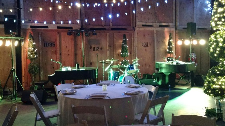 Dueling Hobbits setup in a warehouse for a Portland corporate Holiday party