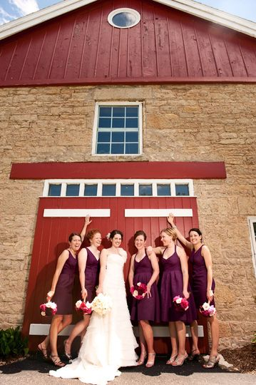 Bride and bridesmaids, burgandy bridesmaid dress
