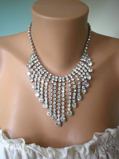 Vintage Art Deco Rhinestone Fringe Necklace from Crystalpearl on Etsy.