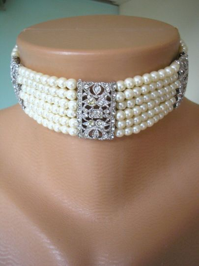 Gorgeous vintage Art Deco style pearl and rhinestone bridal choker by Crystalpearl on Etsy.