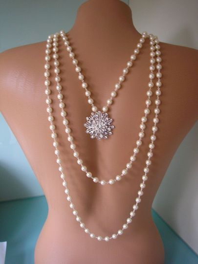 Custom handmade pearl bridal backdrop necklace with ornate rhinestone clasp and rhinestone back...
