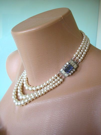 Fabulous vintage 3-strand pearl choker necklace with pale sapphire blue rhinestone box clasp by...