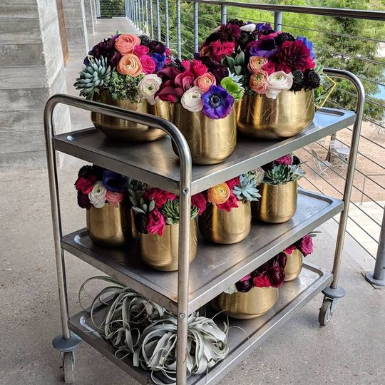 Bouquets in pots