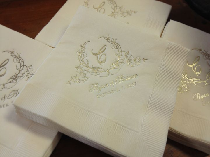 Gold foil cocktail napkins