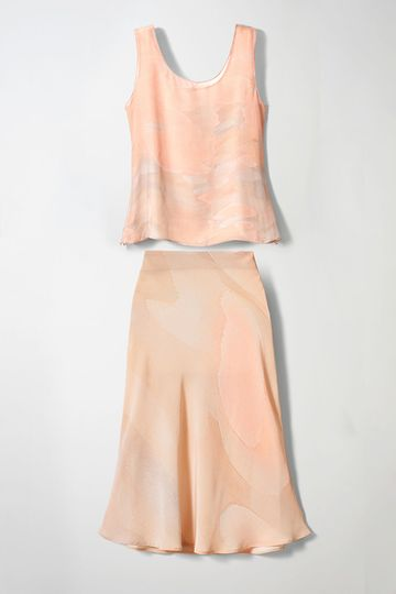 Soft flowing sleeveless two-piece special occasion outfit in pure silk crepe de chine with midi...