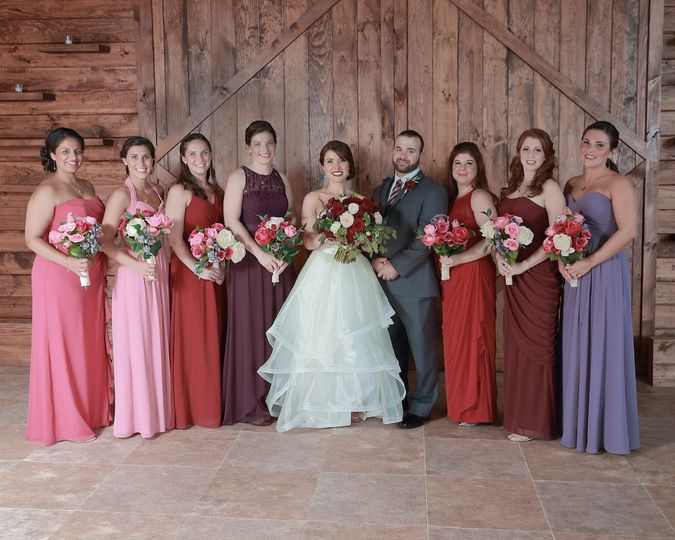 Couple with bridesmaids