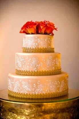 Dainty cake with gold lace