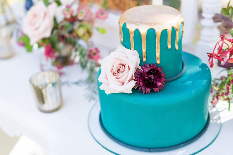 Teal Cake with Gold Drip