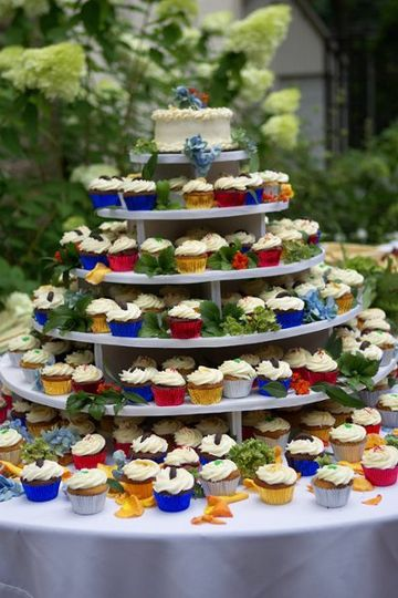 Cupcake tower featuring four flavors: Line, Chocolate Mint, Hummingbird & Red Velvet. Photo:...