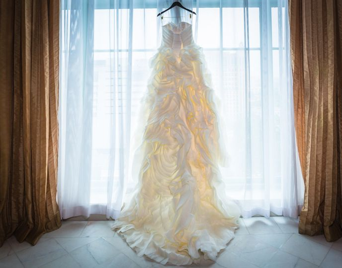 The brides Maggie Sottero Dress before her Westin Colonnade wedding in Coral Gables, Florida
