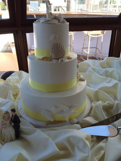 Multiple layered wedding cake