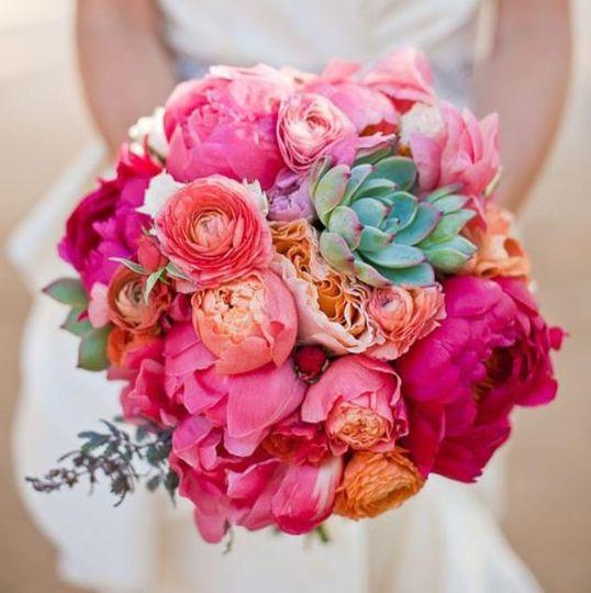 Peonies bride bouquet