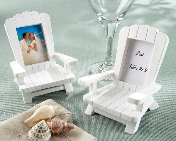"""Beach Memories"" Miniature Adirondack Chair Place Card/Photo Frame ("