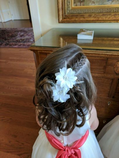 Flower girl with hair accessory