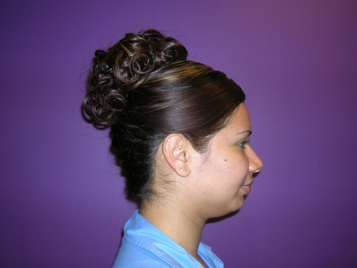 Side view of the braided updo