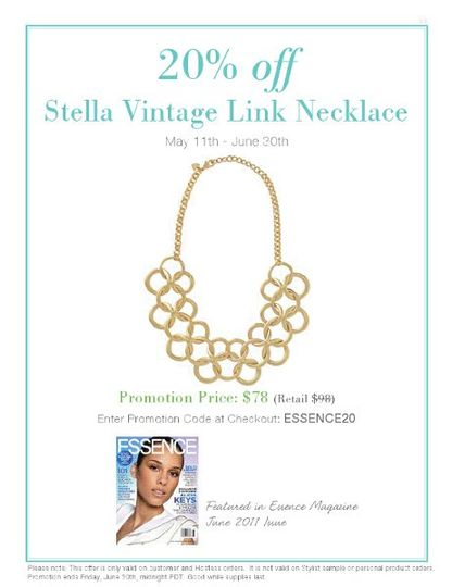 Stella Vintage Link Necklace ****PROMO PRICE THROUGH JUNE 30th, AS SEEN IN JUNE ISSUE OF ESSENCE...