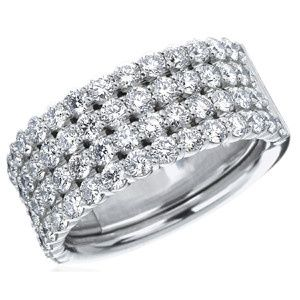 Quadruple row diamond eternity band in 18k white gold or platinum