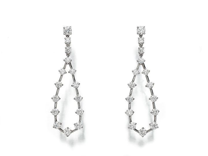 "platinum ""Starry Night"" teardrop earrings with diamonds, 2.85cts"