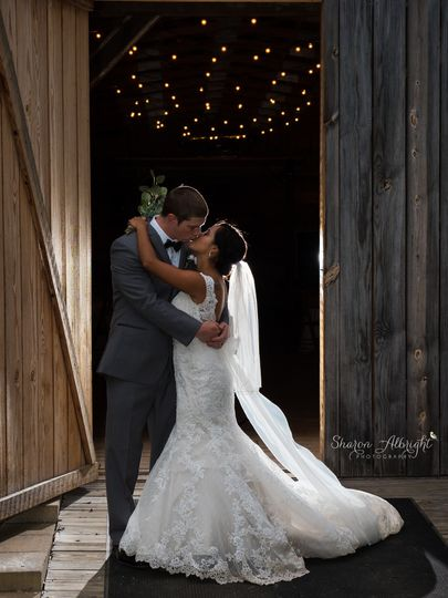 barn wedding silhouette