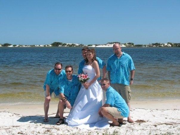 Bride and her groomsmen