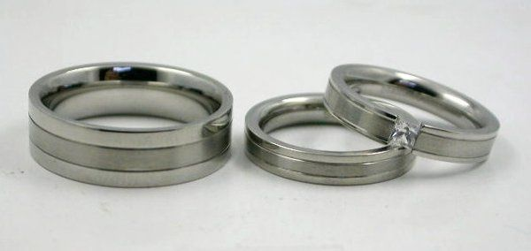 His/Her princess cut stainless steel trio