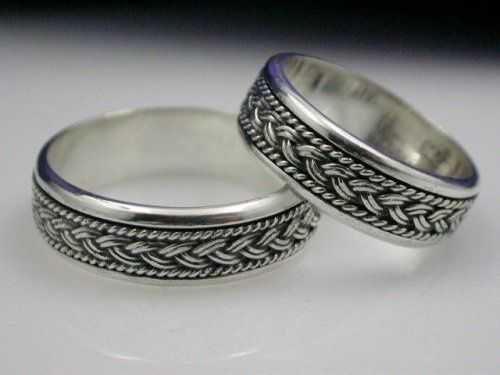 Antiqued hand braided sterling silver wedding band set