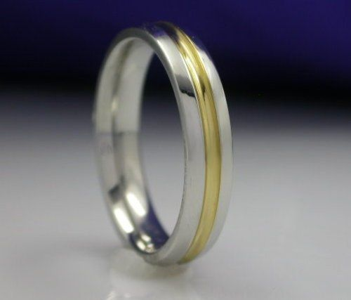 Unisex Wedding band in stainless steel & 14k gold