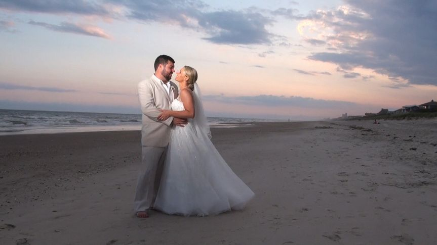 Dillon & Anna at beach sunset - Pine Knoll Shores