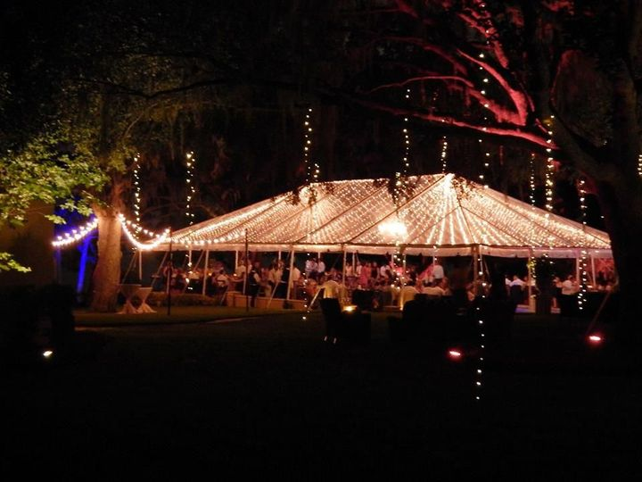 Reception tent lighting in the evening