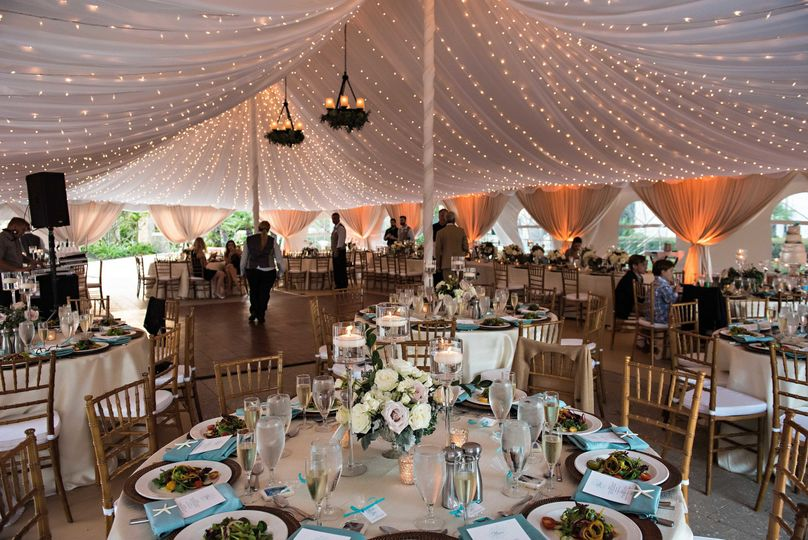 Reception tent setup and lights