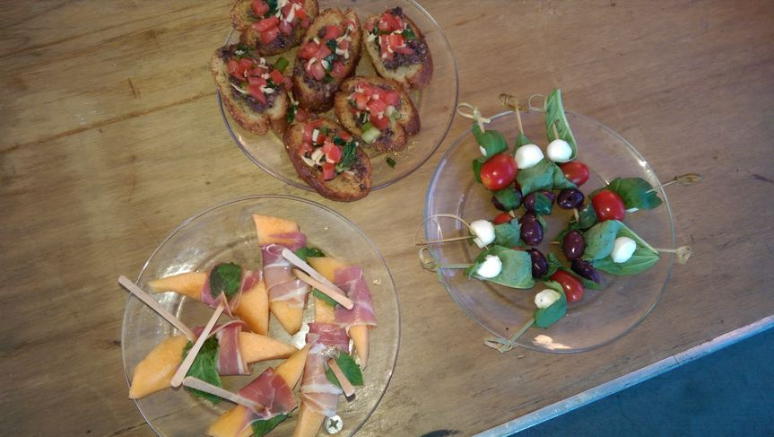 Right from top: Bruschetta, Antipasto Skewer, Proscciutto Wrapped Melon with Fresh Mint