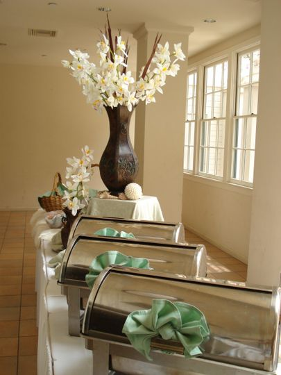 Buffet decorated with beautiful lilies