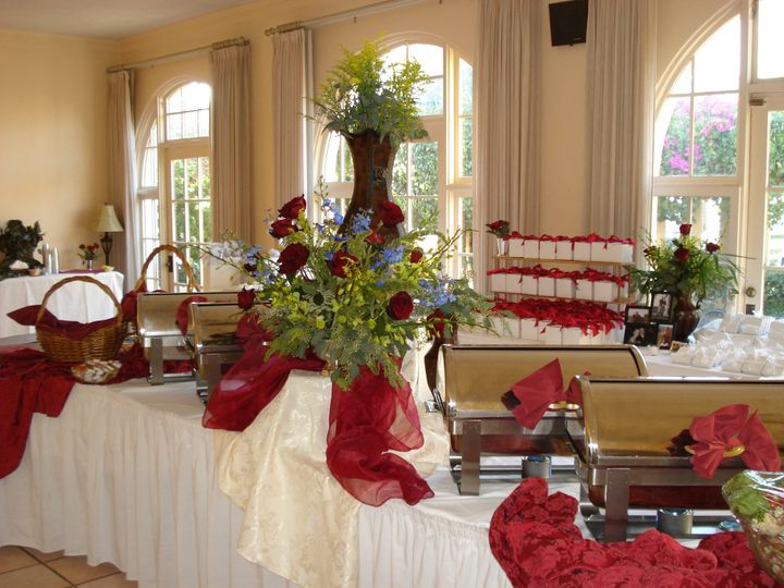 Romantic red and white buffet table