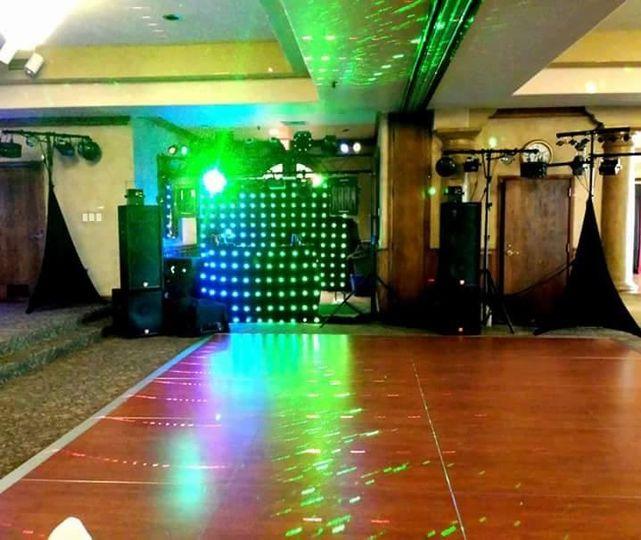 DJ setup and lighting effects