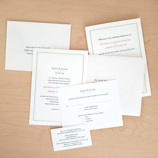 Simple, clean, elegant wedding invitation package