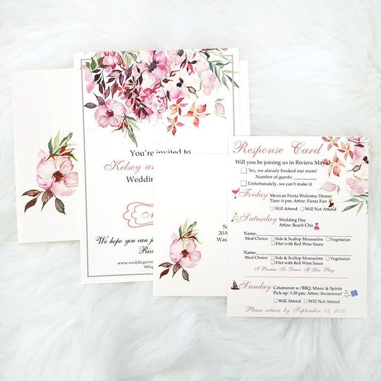 Floral wedding invitation package (included the invite, RSVP card and custom addressed envelopes).