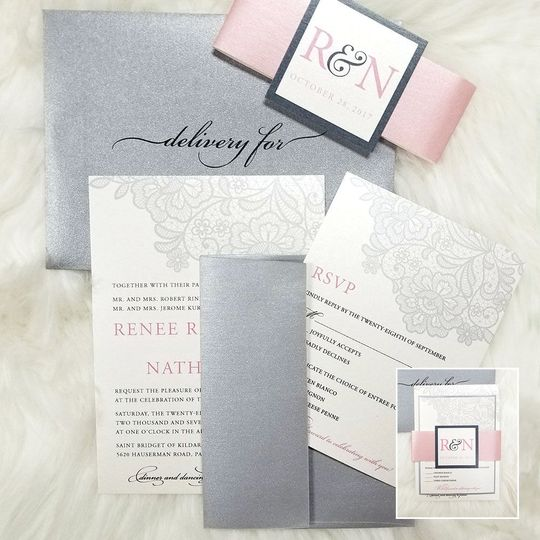 This is the wedding invitation package showing most of the pieces. It included the invite, RSVP,...