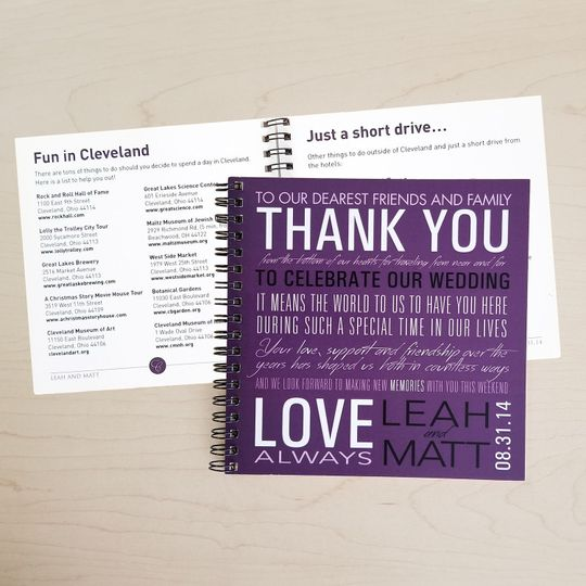 This is a custom booklet we made for a couple for them to include with individual bags for...