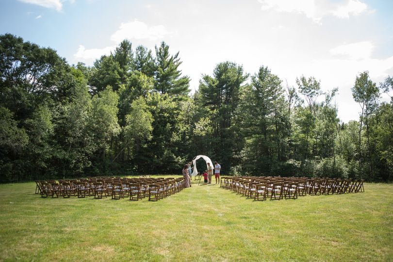 Ceremony space set up on private property in Massachusetts.  Photo by Kelly Schatz Photography....