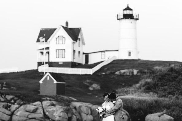 Intimate ceremony at Nubble Light in Maine. Photo courtesy of Bethany & Dan Photography.  Featured...