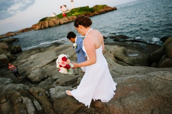 Intimate ceremony at Nubble Light in Maine.  Photo courtesy of Bethany & Dan Photography.  Wedding...