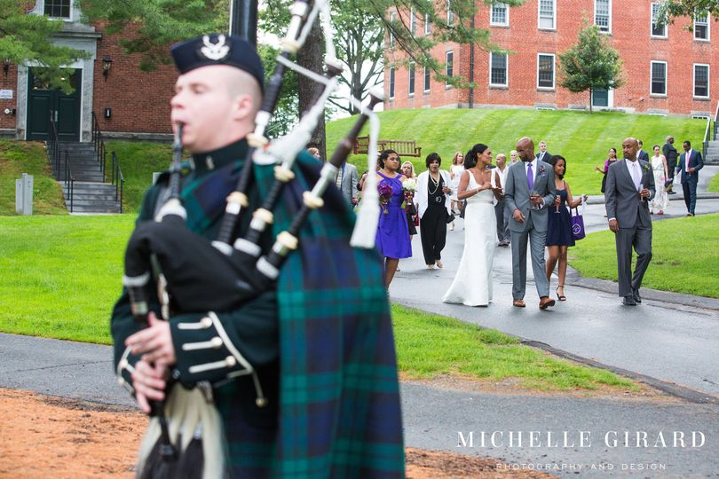 Professional bagpiper leads guests from the ceremony to a formal champagne toast pre-reception!...