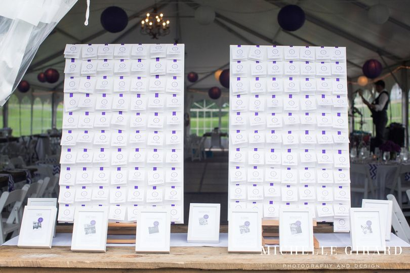 Custom Escort Card display created by Events by Jackie M.  Purple & White Theme. Photo by Michelle...