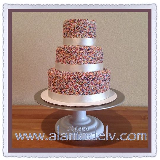 A bright a cheery celebration! What a wonderful take & a fun wedding cake! Making for a colorful...