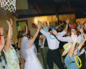 Bride with all her family and friends having fun on the dance floor