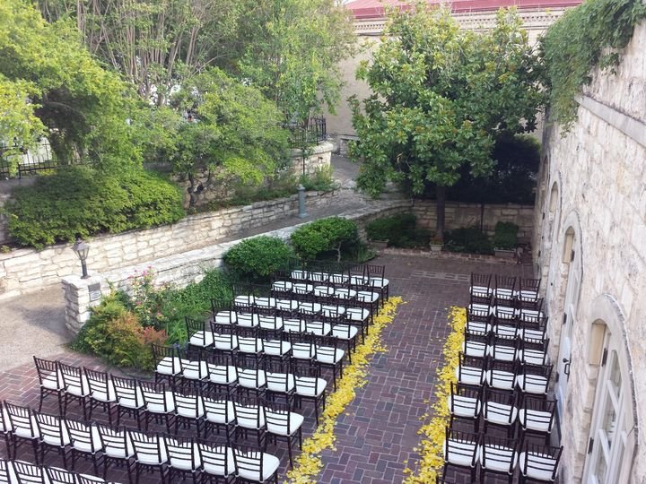 Courtyard ceremony at chateau bellevue