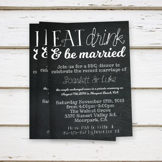Sample chalkboard invitation