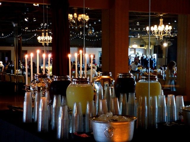 Drink setup with candle centerpiece
