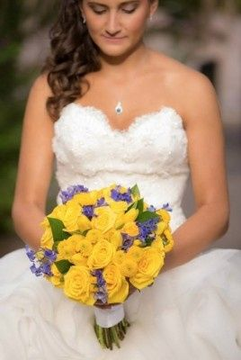 The bride holding her bouquet