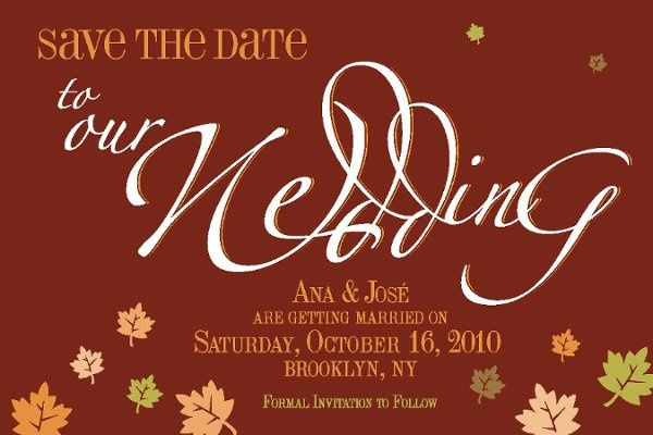 Save the Date Calligraphic lettering wedding postcard.